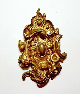 Antique French Victorian Gilt Bronze Brass Ornate Door Furniture Mount 19thc