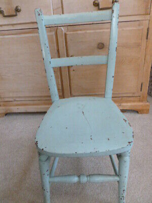 Vintage Victorian child`s small painted school chair blue shabby chic