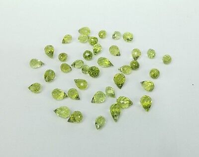 * Lot Of 26.6 Carats Peridot Briolettes Loose Multi-Facetted Gemstones Gems