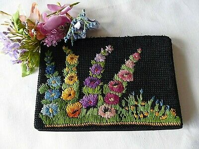 Vintage Hand Embroidered Evening Bag 1950's. Dance Tickets Inside Dated 1958.