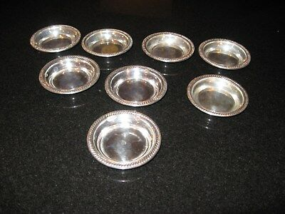 VTG. HALLMARKED  Sterling Silver Coaster Small Tray Butter pats FULL SET OF 8