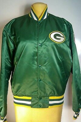 XXL GREEN XL GREEN BAY PACKERS Starter Throw Back Satin Jacket MED LG