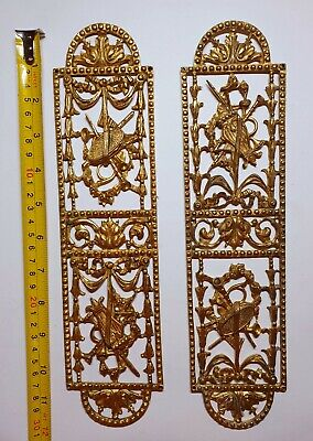 Antique French Victorian Gilt Bronze Door Finger Plates Furniture Mount 19thc