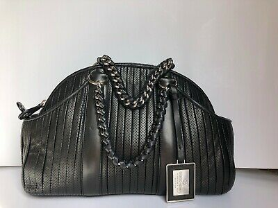c1bba42d4f GIORGIO ARMANI BORGONUOVO Vintage Pleated Black Lambskin Leather Tote Bag  Italy