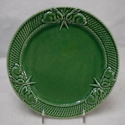 "BORDALLO PINHEIRO Portugal RABBIT GREEN pattern Dinner Plate  10-1/4"" crazed"