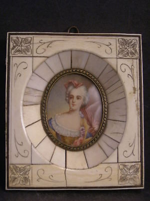 19th c Carved Relief Bronze Frame Hand Painted Oil Portrait Painting Artist Sgnd