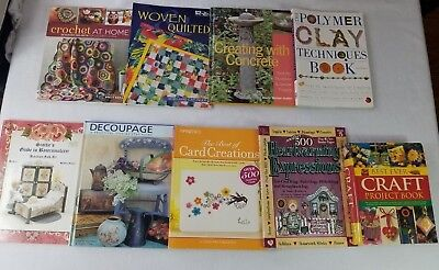 Lot of 9 Crafting Books Crochet Decoupage Cards Polymer Clay Quilts Projects