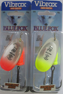 2 - BLUE FOX Classic Vibrax Candyback Spinners - Size 6 (5/8 oz.) - Two Colors!