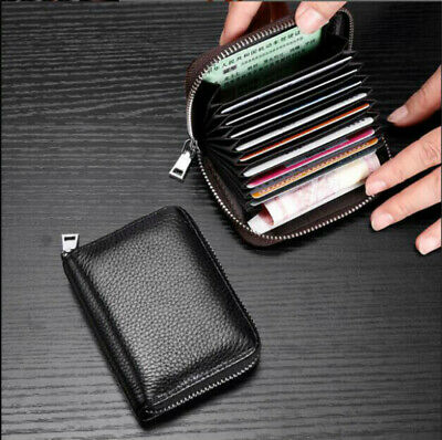 Women Men Wallet Credit Card Holder Genuine Leather RFID Blocking Pocket Purse