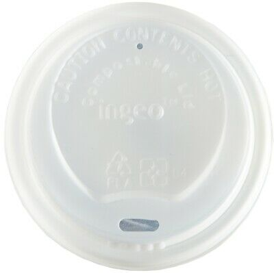 50 x 8oz WHITE CPLA Lids For Mixed Design Bamboo Biodegradable Compostable Cups