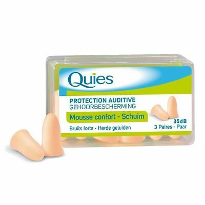 Quies Foam Comfort Noise Protection Ear Plugs - Discreet 35 dB - 3 Pairs