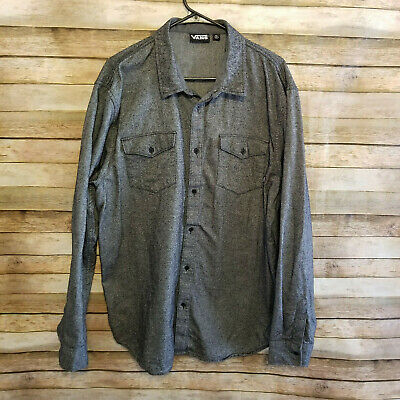 0bc0552840 Vans Off The Wall Mens Long Sleeve Gray Button Up Textured Shirt Size XL EUC