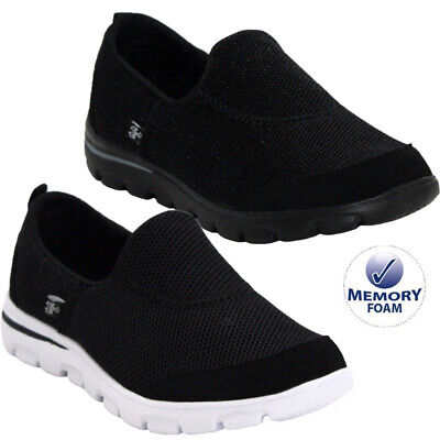 Ladies Get Fit Go Walking Slip On Comfy Trainers Gym Fitness Memory Foam Shoes