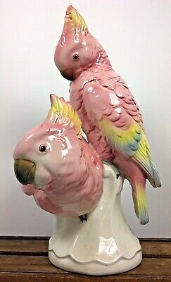Antique Germany Volkstedt Pair Cockatoo Porcelain Statue