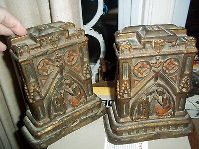 Old Antique Nativity Mary Joseph Painted Gild Gilt Bookends Amazing Early 1900's