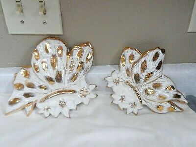 Vintage White Gold Butterfly Wall Pockets
