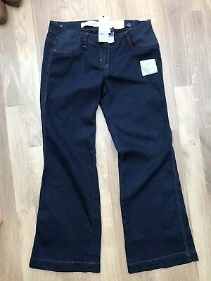 Next Maternity Blue Navy Made with love Wide Leg Jeans 12r regular BNWT stretch