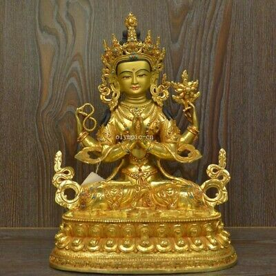 12'' Nepal Tibet bronze gold buddhism Four-armed Guanyin Chenrezik Practice