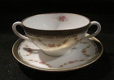 Austria W in Wreath Marked 1309-26 2 Handled Cup/ Saucer Set Encrusted Rose Swag