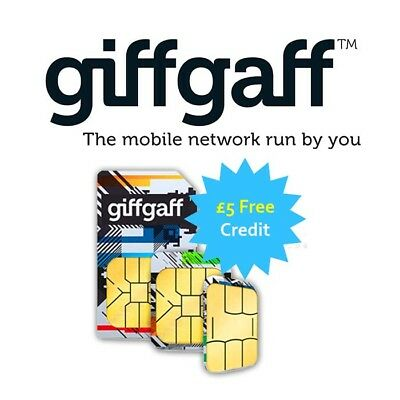 Giffgaff Sim Card, Pay As You Go, £5 Free Credit (Nano, Micro, Mini Sim)(0039)