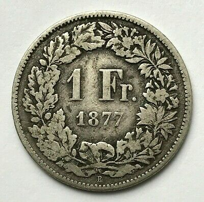 Dated : 1877 - Silver Coin - Swiss - 1 Franc - One Franc Coin - Switzerland