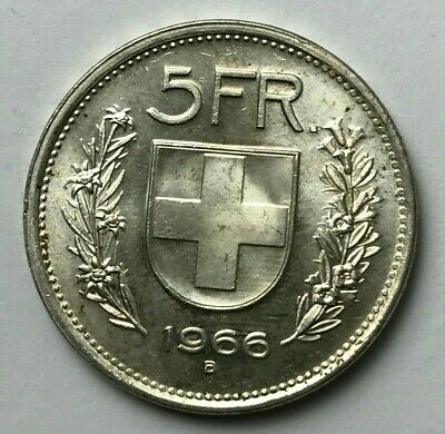 Dated : 1966 - Silver Coin - Switzerland - 5 Swiss Francs - 5 FR - Helvetica
