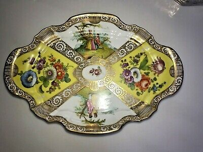 Kpm Hand Painted Yellow Tray Hand Panted No Reserve