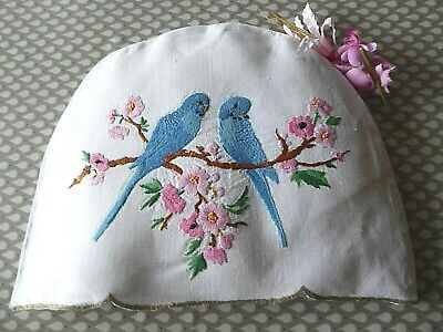 Vintage Hand Embroidered Tea Cozy/teapot Cover- Charming Blue Budgerigars