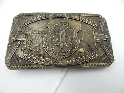 Wells Fargo CIA Mexico Brass Belt Buckle Vintage