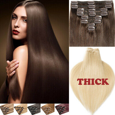 Full Head CLEARANCE Clip In Remy Human Hair Extensions 170G++ Thick Volume AM248