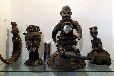 Lote 4 fetiches africanos african art