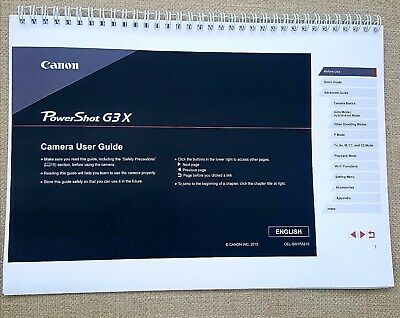 PRINTED Canon Powershot G3X Full colour  guide Instruction manual  219 pages A5