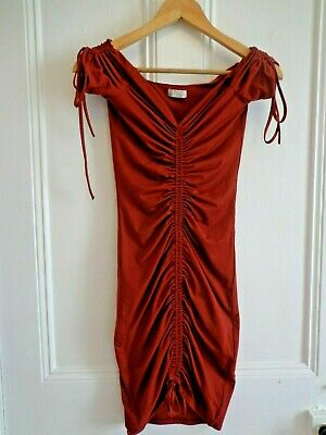 b10394116c Ladies dress size 6 in rust Oh Polly pull my heart strings ruched bardot  mini
