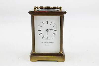 Vintage Quality Matthew Norman Heavy BRASS CARRIAGE CLOCK Key-Wind WORKING 1048g