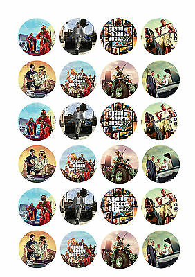 24 x GTA Grand Theft Auto 5 Cup Cake Toppers Rice / Wafer Paper