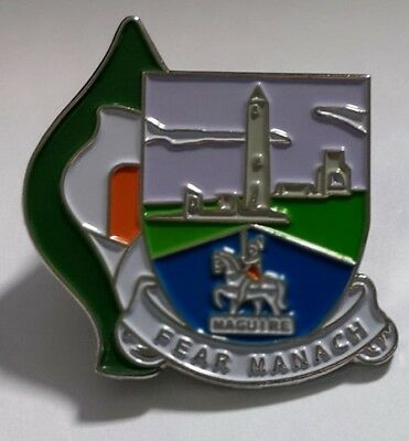 Irish County Easter Lily Pin Badge Irish GAA Republican 1916 Fermanagh crest