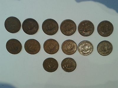 Set of British Half Penny Coins 1936-1949