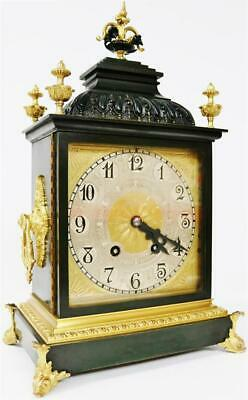 Rare Antique French 14 Day Duration 2Tone Bronze & Ormolu Mantel / Bracket Clock