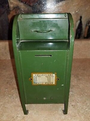 All American Mail Box Coin Bank Vintage Forest Green Door