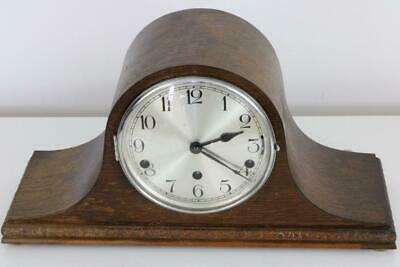 DUAL CHIMING MANTEL CLOCK Whittington & Westminster OAK NAPOLEON HAT SHAPED CASE