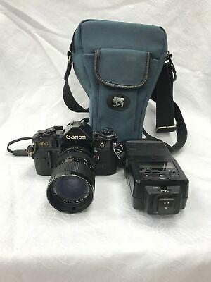Canon A-1 Vintage Film Camera 35-70mm Lens With Cobra D650 Flash And Case #718