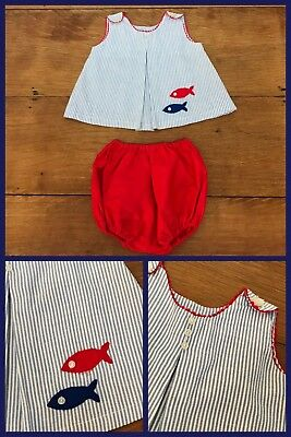 1960s Sun Suit Jumper Bloomers Inverted Front A Line Fish Red Blue 12 - 18 Month