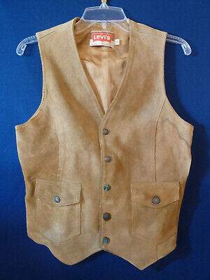 Vintage Levi's Vest Suede Leather Orange Tab 1960s-70s Sz S Levi Strauss USA