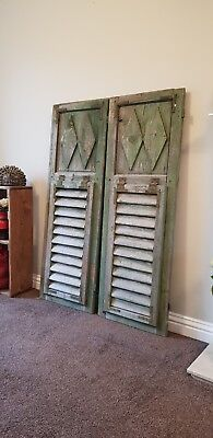 Extra Large  VINTAGE WOODEN European window shutters shabby chic rustic