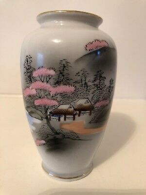 """Vintage Oriental Blossom Pattern - Japanese Small Vase - Marked Foreign 5"""" High"""
