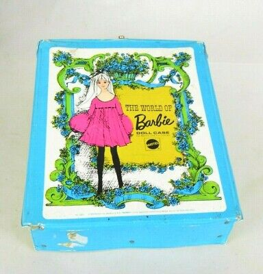 Vintage 1968 Blue The World of Barbie Doll Case Mattel Made in USA