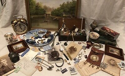 joblot Vintage watches/coins/collectables/curios/postcards/Stamps/pottery/Clock