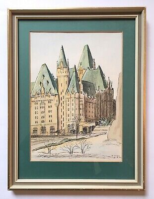 Vintage Watercolour Painting Chateau Laurier Hotel Ottawa Canada signed E Wright