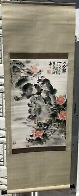 """Vintage Asian Wall Scroll Poodle Flowers Calligraphy Art Collectible 54"""""""