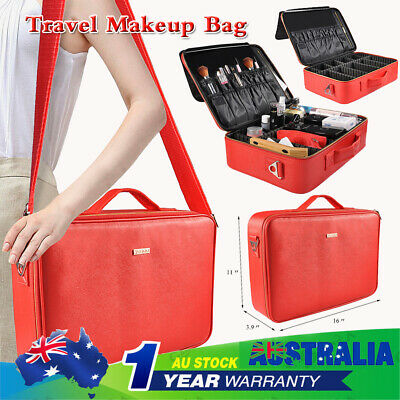 Portable Cosmetic Case Makeup Bag Pouch Travel Large Capacity Storage Red Box